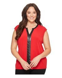 Calvin Klein Red S/l Top With Faux Leather
