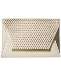 Jessica Mcclintock - White Rider Perforated Envelope Clutch - Lyst