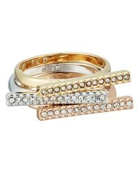 Rebecca Minkoff - Metallic Tri-color Bar Stackable Rings - Lyst
