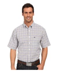 Cinch - White Athletic Plaid Short Sleeve for Men - Lyst
