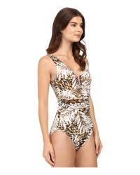 Miraclesuit - Brown Sheer Safari Palisades One-piece Swimsuit - Lyst