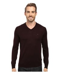 Calvin Klein   Multicolor Solid Merino V-neck Sweater for Men   Lyst