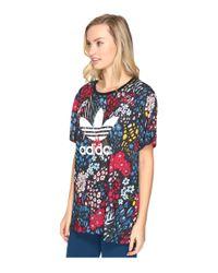 Adidas Originals | Blue Aop Boyfriend Trefoil Tee | Lyst