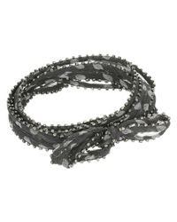 Chan Luu - Black 42' Viscose Chiffon Polka Dot Print Necklace Or Bracelet With Beaded Trim - Lyst
