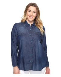Roper - Blue Plus Size 0604 5 Oz. Indigo Denim Long Sleeve Shirt - Lyst