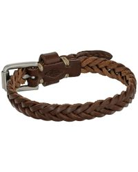 Fossil - Brown Vintage Casual Braided Leather Bracelet - Lyst