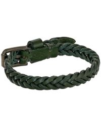 Fossil - Green Vintage Casual Braided Leather Bracelet - Lyst