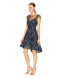 Notte by Marchesa | Blue Embroidered Cap Sleeve Cocktail Dress | Lyst