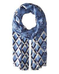 Tory Burch | Blue Logo Mosaic And Signature Print Oblong | Lyst