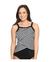 Miraclesuit | Black New Directions Color Block High Neck Tankini Top | Lyst