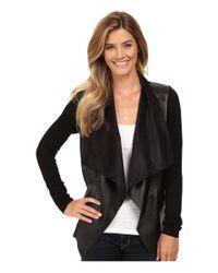 MICHAEL Michael Kors | Multicolor Faux Leather Drape Front L/s Sweater | Lyst