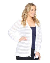MICHAEL Michael Kors   White Plus Size Sheer Stripe Open Cardi   Lyst