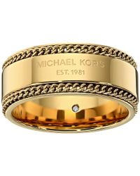 Michael Kors | Metallic Logo Plaque Band Ring | Lyst