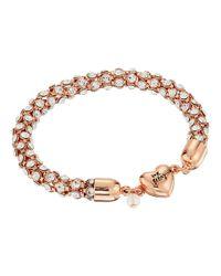 Betsey Johnson | Metallic Rose Gold/crystal Heart Magnet Bracelet | Lyst