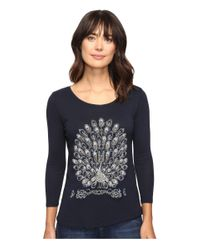 Lucky Brand | Blue Peacock Embellished Tee | Lyst