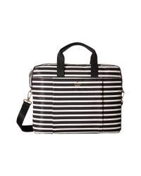 Kate Spade | Black Stripe Nylon Laptop Bag Laptop Case | Lyst