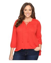Lucky Brand | Red Plus Size Lace Front Peasant | Lyst