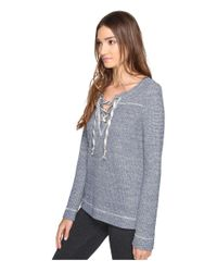 Lucky Brand | Blue Lace-up Pullover Top | Lyst