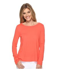 Dylan By True Grit Multicolor Vintage Soft Cotton Long Sleeve Tiered Back Tee
