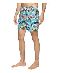 Original Penguin | Blue Tropical Printed Fixed Waist Swim Shorts for Men | Lyst