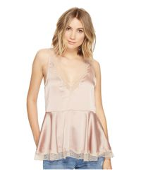 Brigitte Bailey | Natural Elaina Ruffle Bottom Top With Lace Detail | Lyst