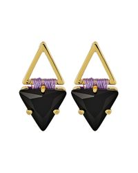 Rebecca Minkoff - Black Thread Wrapped Geometric Stud Earrings - Lyst