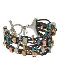 Robert Lee Morris | Metallic Patina Mixed Metal Bead Multi Row Toggle Bracelet | Lyst