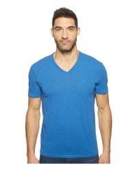 John Varvatos | Blue Slub Short Sleeve Peace V-neck With Peace Sign Chest Embroidery K3037t1b for Men | Lyst