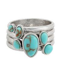 Lucky Brand | Metallic Turquoise Stack Ring Ii | Lyst