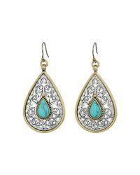 Lucky Brand | Multicolor Etched Turquoise Drop Earrings | Lyst