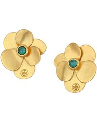 Tory Burch | Metallic Flower Petal Stud Earrings | Lyst