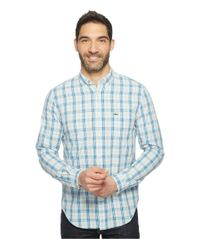 Lacoste | Blue Long Sleeve Medium Check Poplin Regular Fit for Men | Lyst