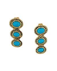 House of Harlow 1960 | Blue Tanta Crosshatch 3 Stone Ear Crawler Earrings | Lyst
