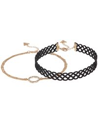 Guess | Metallic Figure 8 Choker And Pave Circle Necklace Set | Lyst