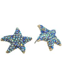 Betsey Johnson - Multicolor Pave Starfish Stud Earrings - Lyst