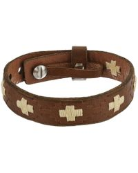 Fossil - Metallic Vintage Casual Cross-stitched Leather Bracelet - Lyst