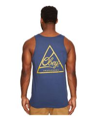7e9b5bd7af7b4 Lyst - Obey Next Round 2 Tank Top in Blue for Men