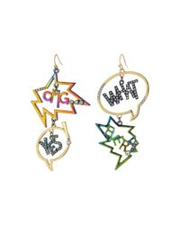 Betsey Johnson | Metallic Gold And Crystal Speech Bubble Earrings | Lyst