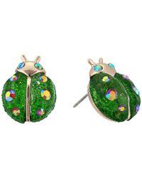 Betsey Johnson - Green Ladybug Stud Earrings - Lyst