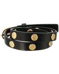 Tory Burch - Double Wrap Logo Stud Bracelet (black/tory Gold) Bracelet - Lyst