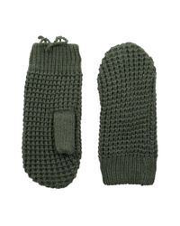 Hat Attack - Green Waffle Stitch Mitten With Lining - Lyst