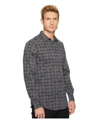 Perry Ellis - Black Regular Fit Scribble Check Dress Shirt for Men - Lyst