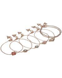 Guess - Metallic Set Of 7 Dainty Logo Bracelets - Lyst