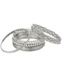 Guess - Metallic Six Piece Textured Bangle Set (silver) Bracelet - Lyst