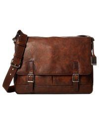 Frye - Brown Oliver Messenger (slate Smooth Pull Up) Messenger Bags for Men - Lyst