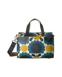 Orla Kiely - Blue Matt Laminated Scallop Flower Small Zip Messenger (denim) Messenger Bags - Lyst