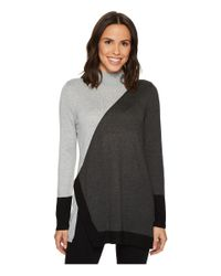 Vince Camuto | Gray Long Sleeve Color Blocked Turtleneck Tunic Sweater | Lyst