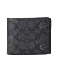 COACH - Gray Compact Id Wallet In Signature Canvas (charcoal) Bags for Men - Lyst