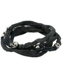 King Baby Studio - Gray Multi Wrap Charcoal Silk Bracelet With Skulls - Lyst