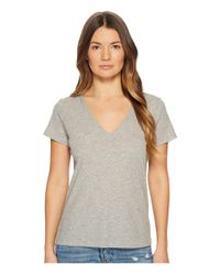 Vince - Gray Essential V-neck Top - Lyst